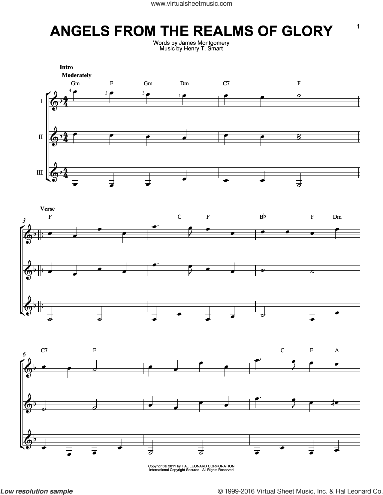 Angels From The Realms Of Glory sheet music for guitar ensemble by James Montgomery and Henry T. Smart, intermediate skill level