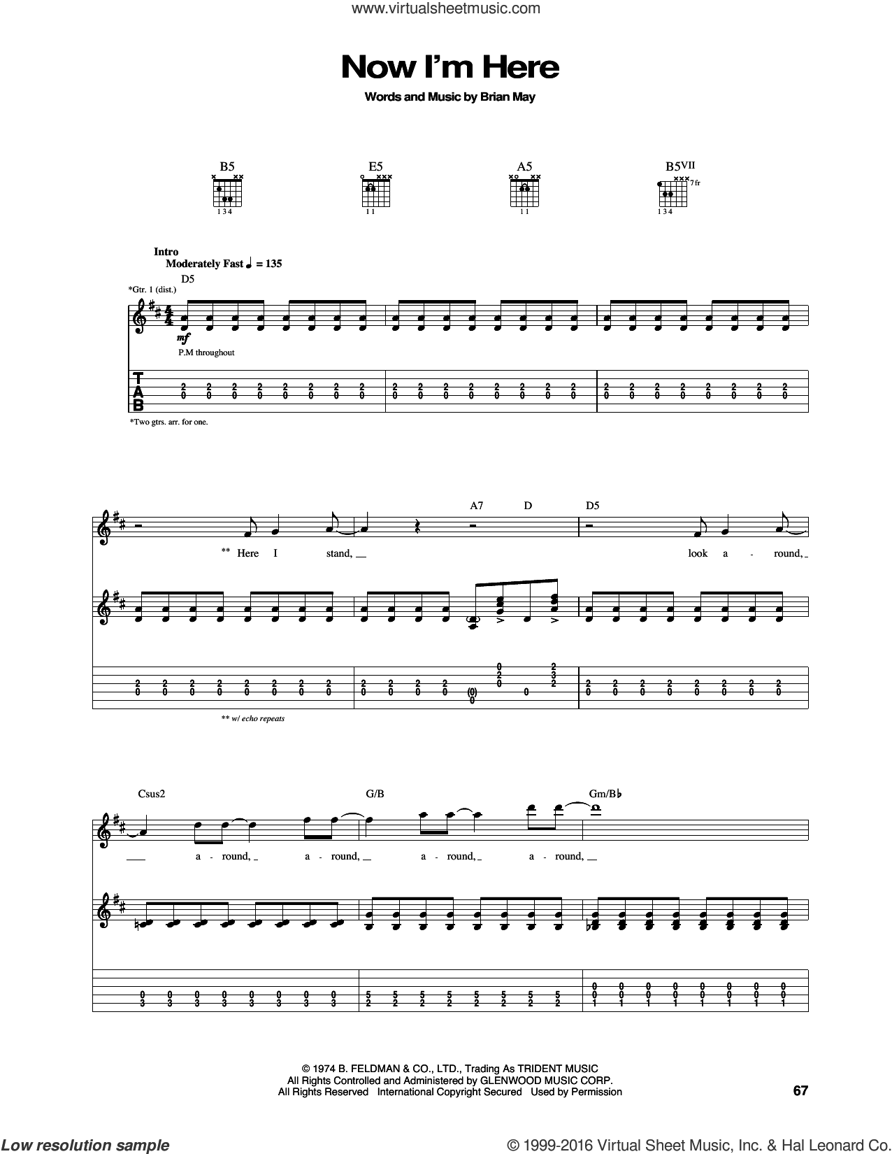 Now I'm Here sheet music for guitar (tablature) by Brian May and Queen. Score Image Preview.