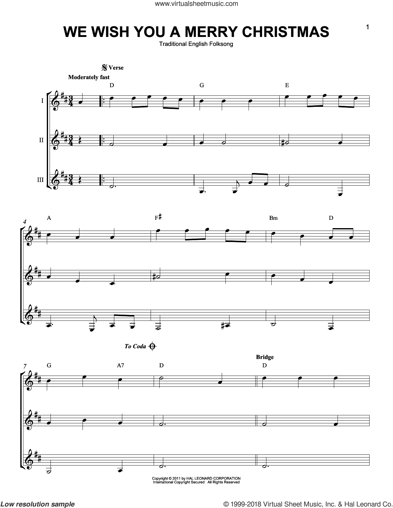 We Wish You A Merry Christmas sheet music for guitar ensemble, intermediate skill level