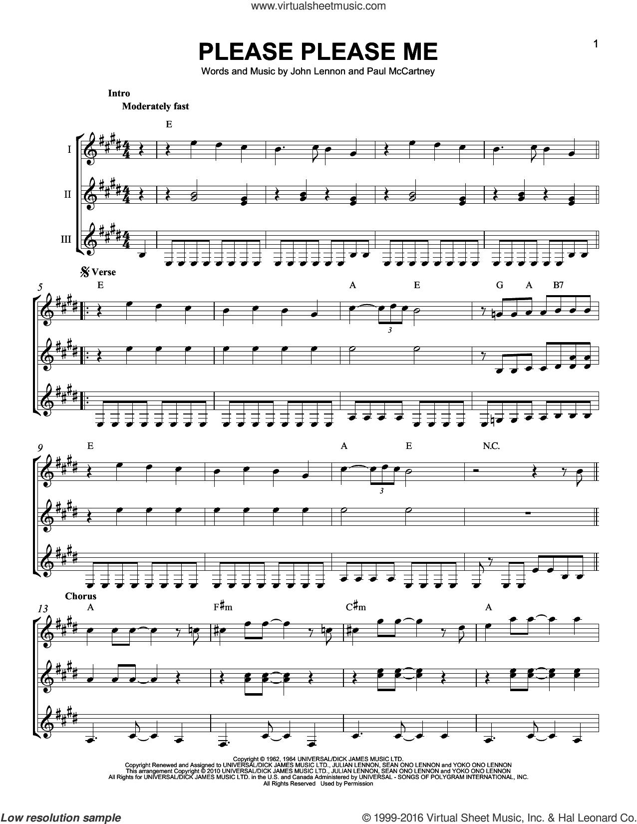 Please Please Me sheet music for guitar ensemble by The Beatles, John Lennon and Paul McCartney, intermediate skill level