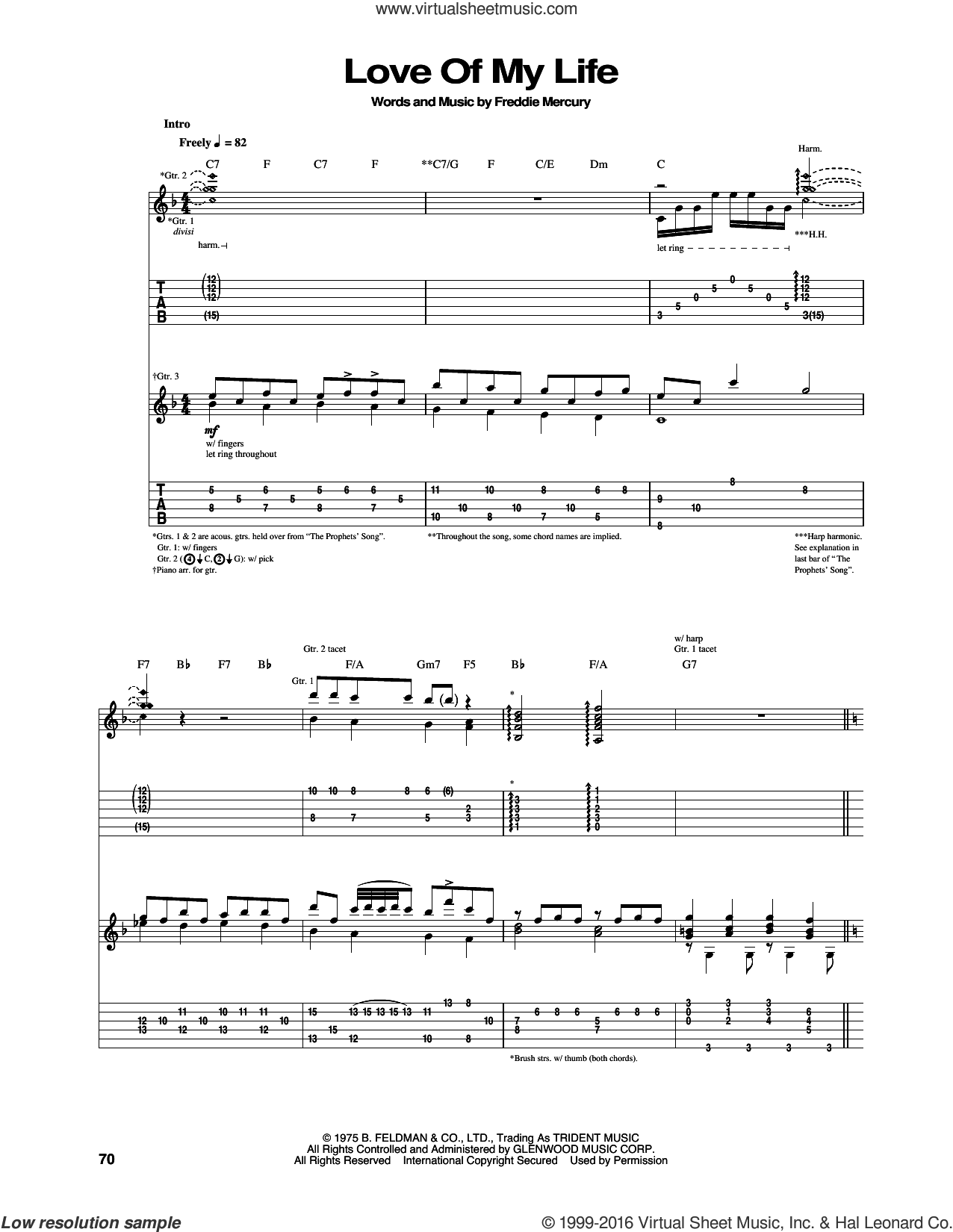 Love Of My Life sheet music for guitar (tablature) by Freddie Mercury and Queen. Score Image Preview.