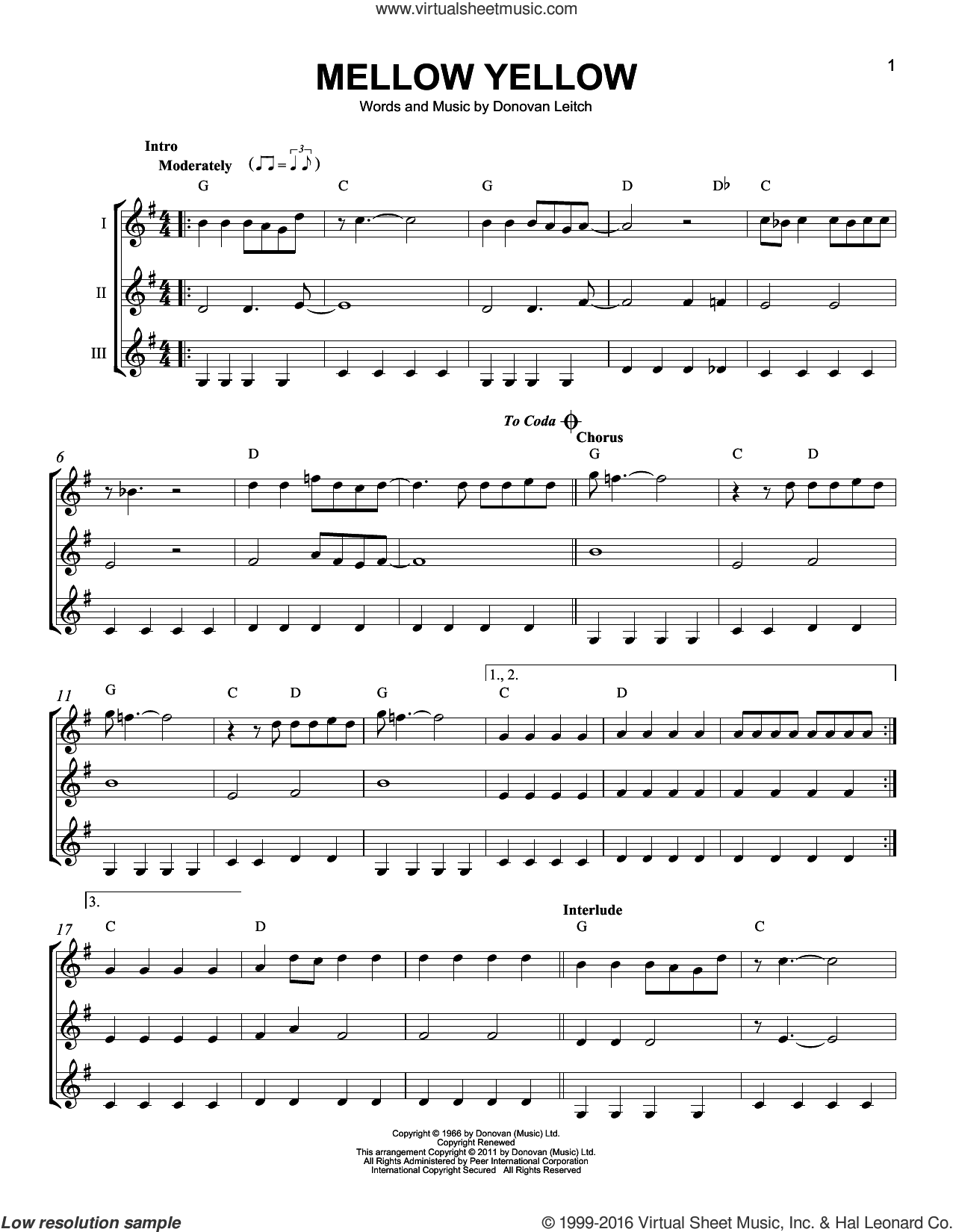Mellow Yellow sheet music for guitar ensemble by Walter Donovan and Donovan Leitch, intermediate