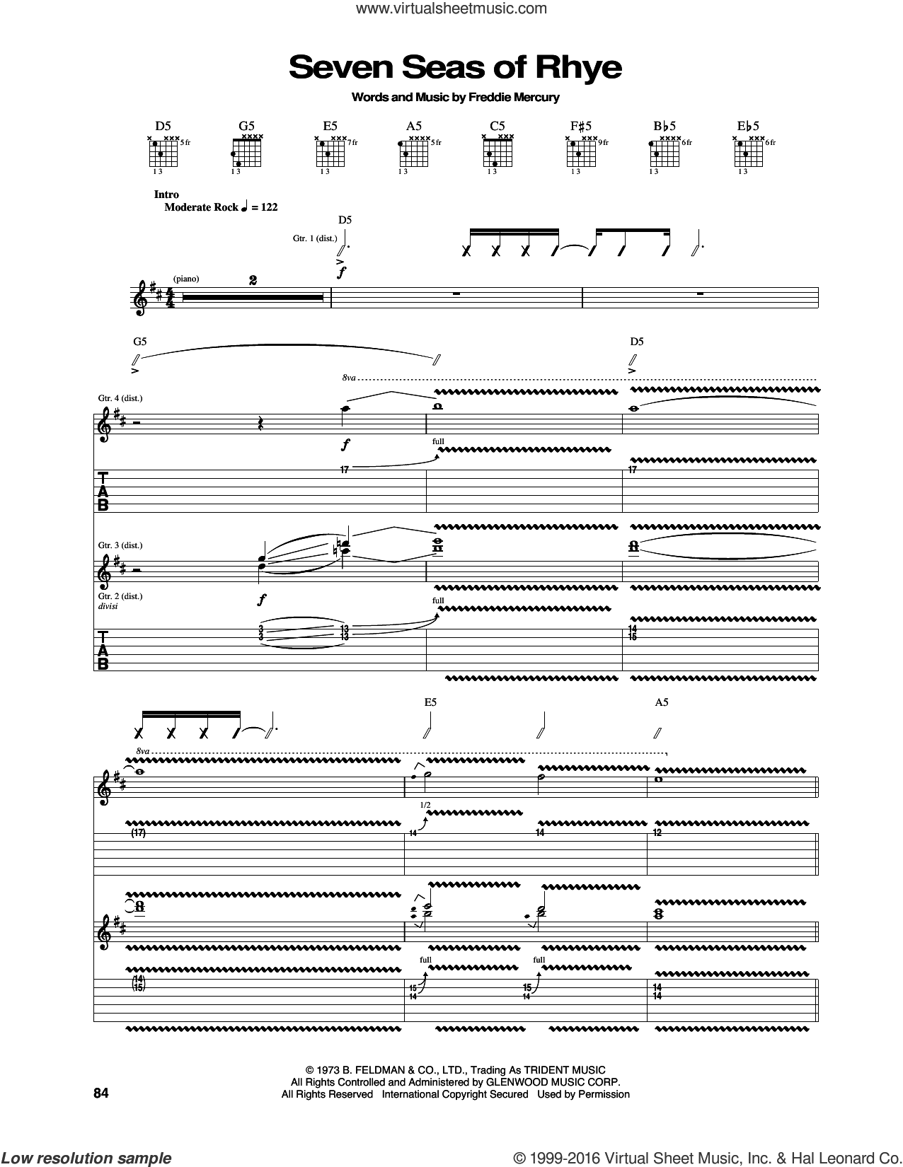 Seven Seas Of Rhye sheet music for guitar (tablature) by Queen and Freddie Mercury. Score Image Preview.