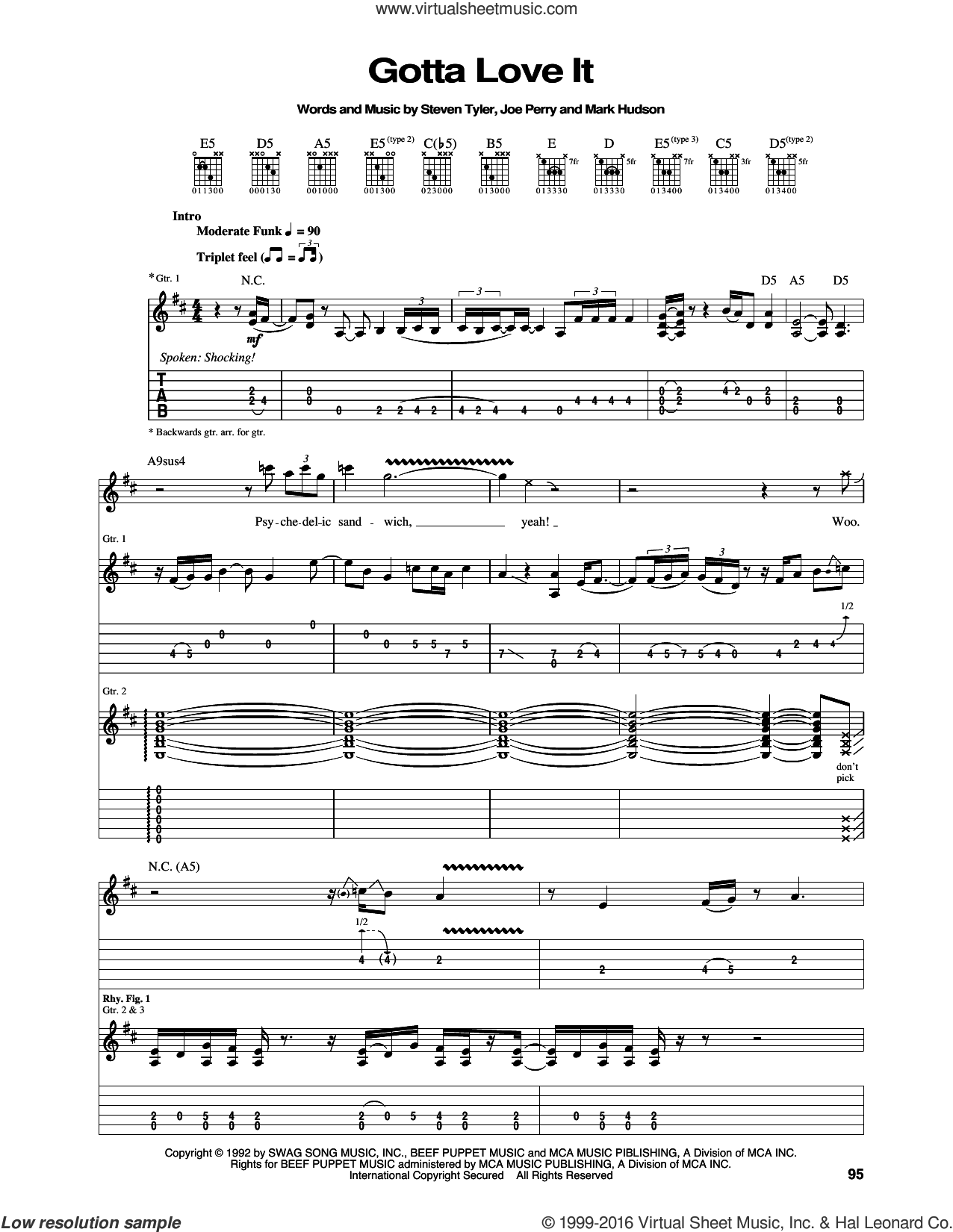 Gotta Love It sheet music for guitar (tablature) by Aerosmith, Joe Perry, Mark Hudson and Steven Tyler, intermediate skill level