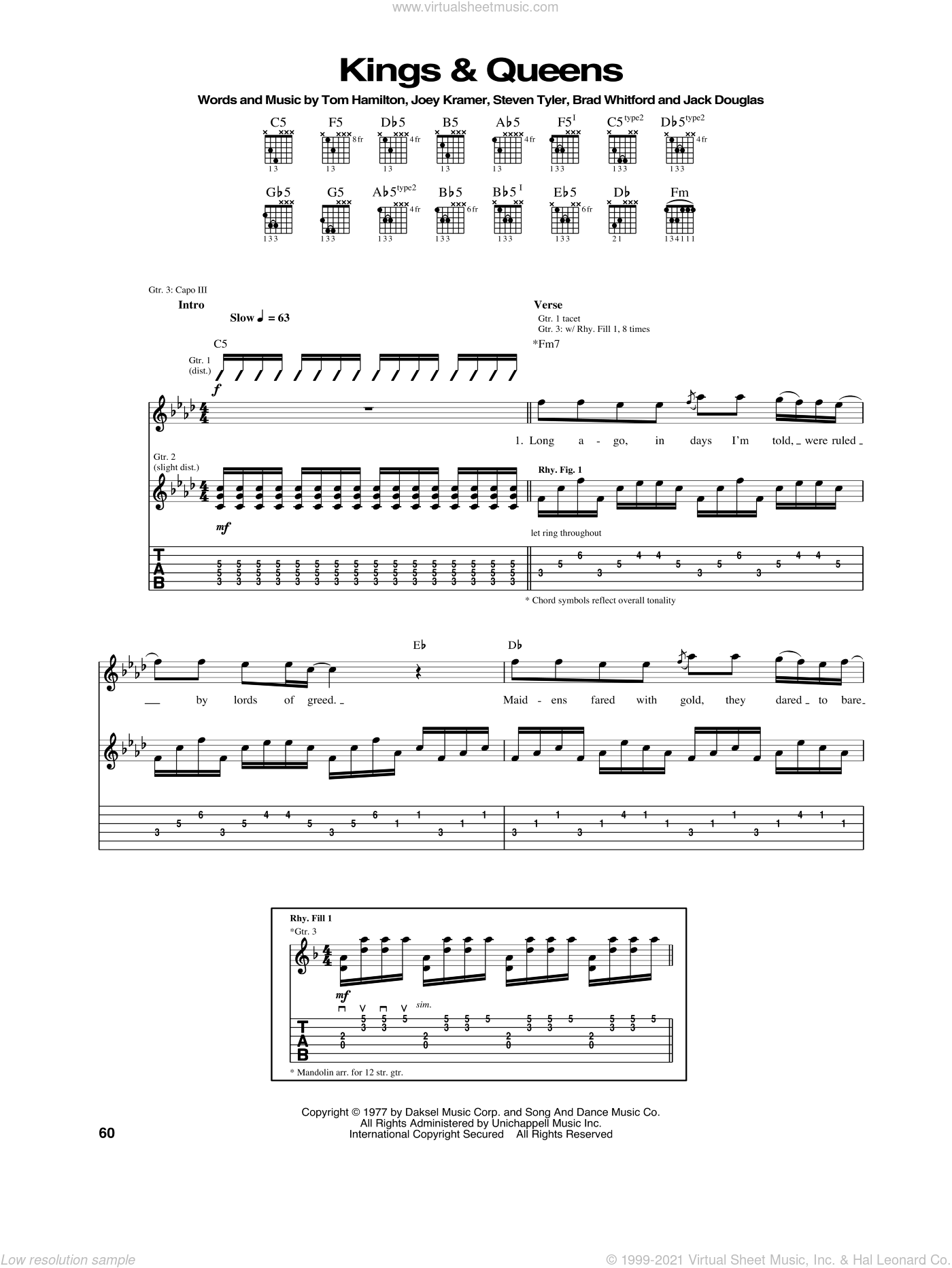Kings and Queens sheet music for guitar (tablature) by Tom Hamilton