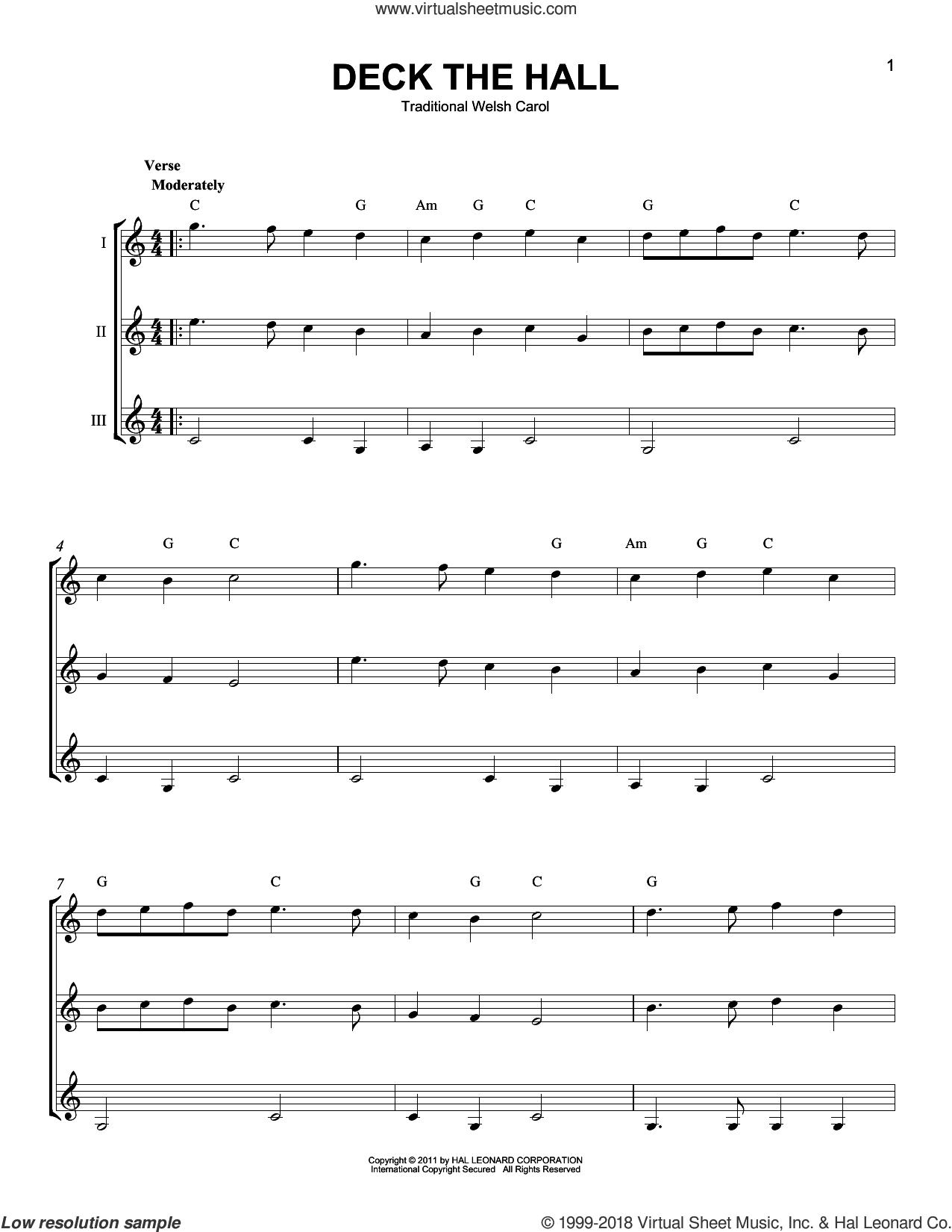 Deck The Hall sheet music for guitar ensemble, intermediate skill level