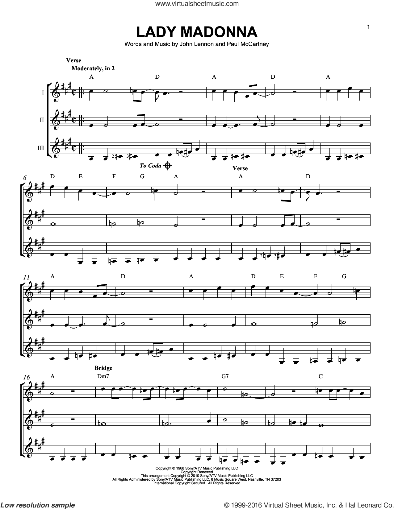 Lady Madonna sheet music for guitar ensemble by The Beatles, John Lennon and Paul McCartney, intermediate. Score Image Preview.
