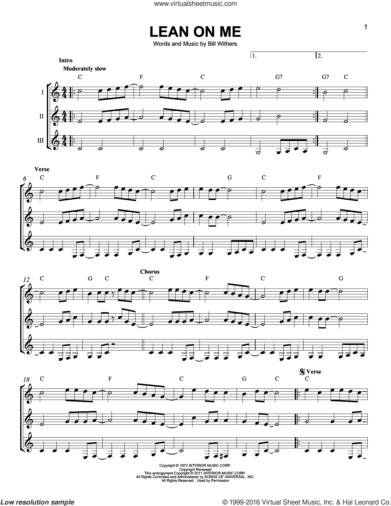 Lean On Me sheet music for guitar ensemble by Bill Withers. Score Image Preview.