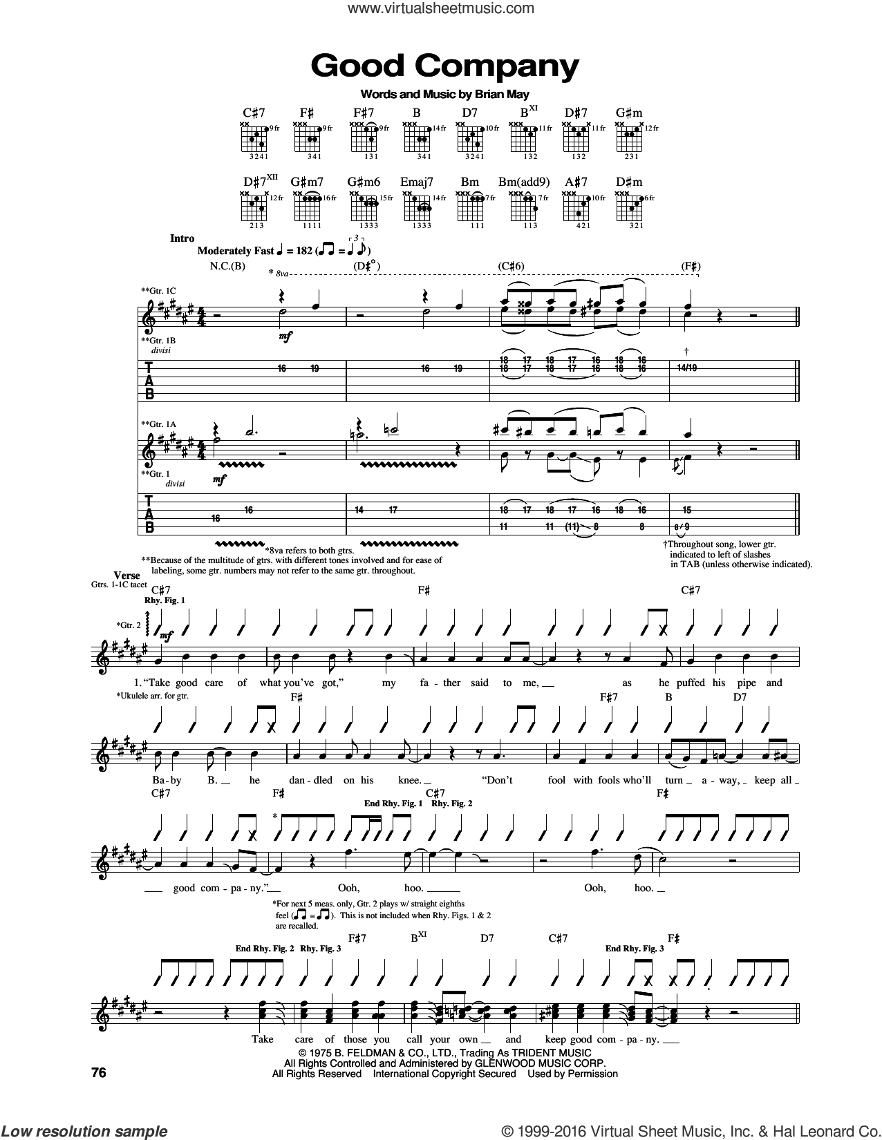 Good Company sheet music for guitar (tablature) by Queen and Brian May, intermediate skill level