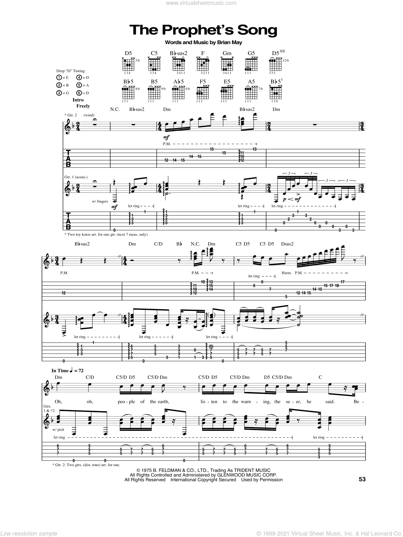 The Prophet's Song sheet music for guitar (tablature) by Queen and Brian May, intermediate skill level