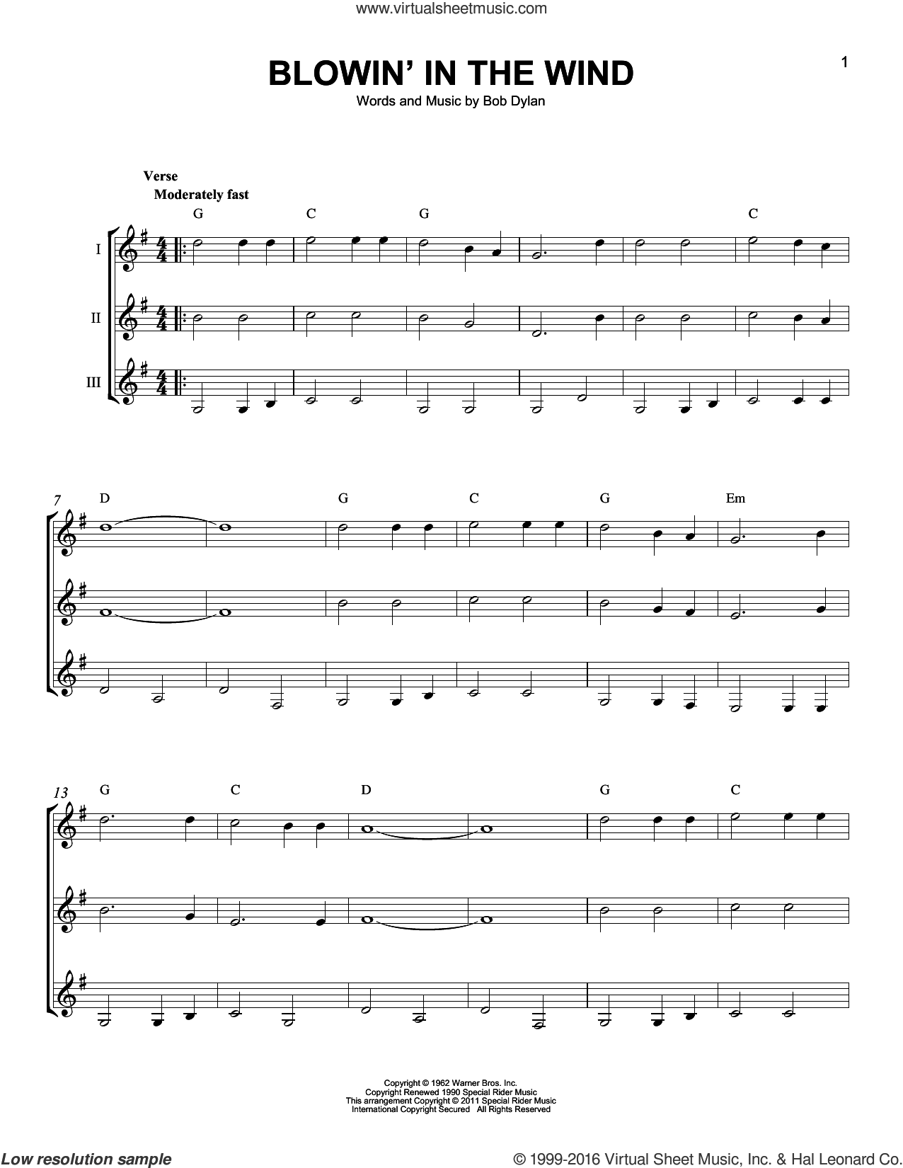 Blowin' In The Wind sheet music for guitar ensemble by Bob Dylan, Peter, Paul & Mary and Stevie Wonder. Score Image Preview.