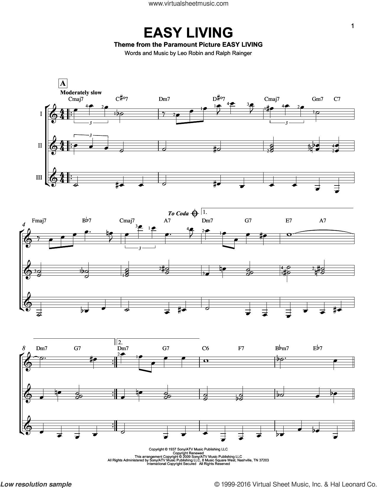 Easy Living sheet music for guitar ensemble by Ralph Rainger & Leo Robin, Billie Holiday, Leo Robin and Ralph Rainger. Score Image Preview.