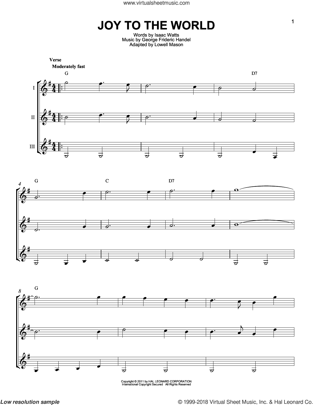 Joy To The World sheet music for guitar ensemble by George Frideric Handel, Isaac Watts and Lowell Mason, intermediate skill level