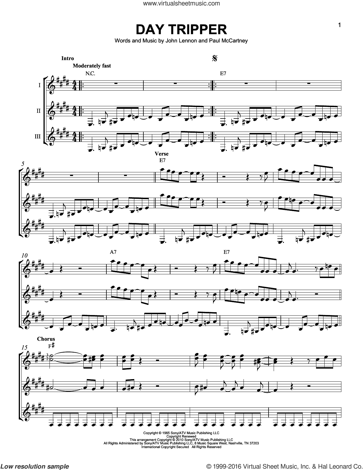 beatles day tripper sheet music for guitar ensemble pdf. Black Bedroom Furniture Sets. Home Design Ideas