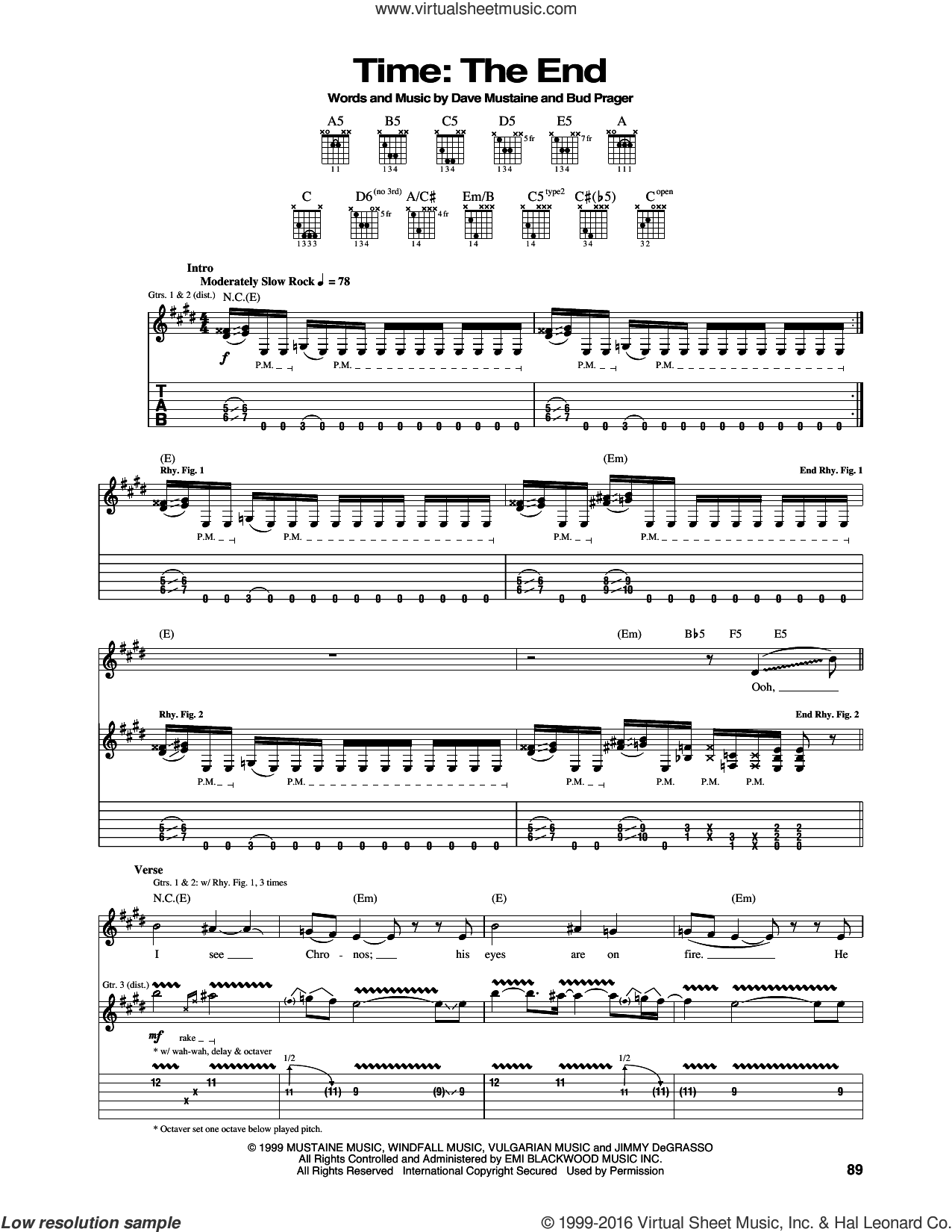 Time: The End sheet music for guitar (tablature) by Dave Mustaine and Megadeth. Score Image Preview.