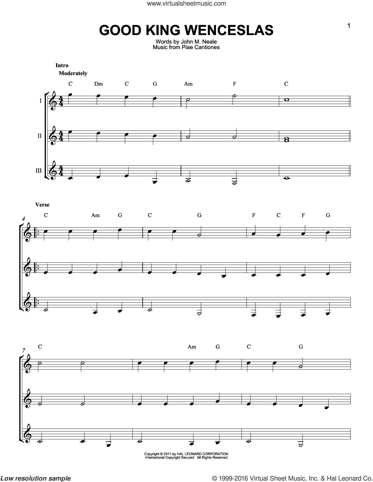 Good King Wenceslas sheet music for guitar ensemble by Piae Cantiones and John Mason Neale, intermediate skill level