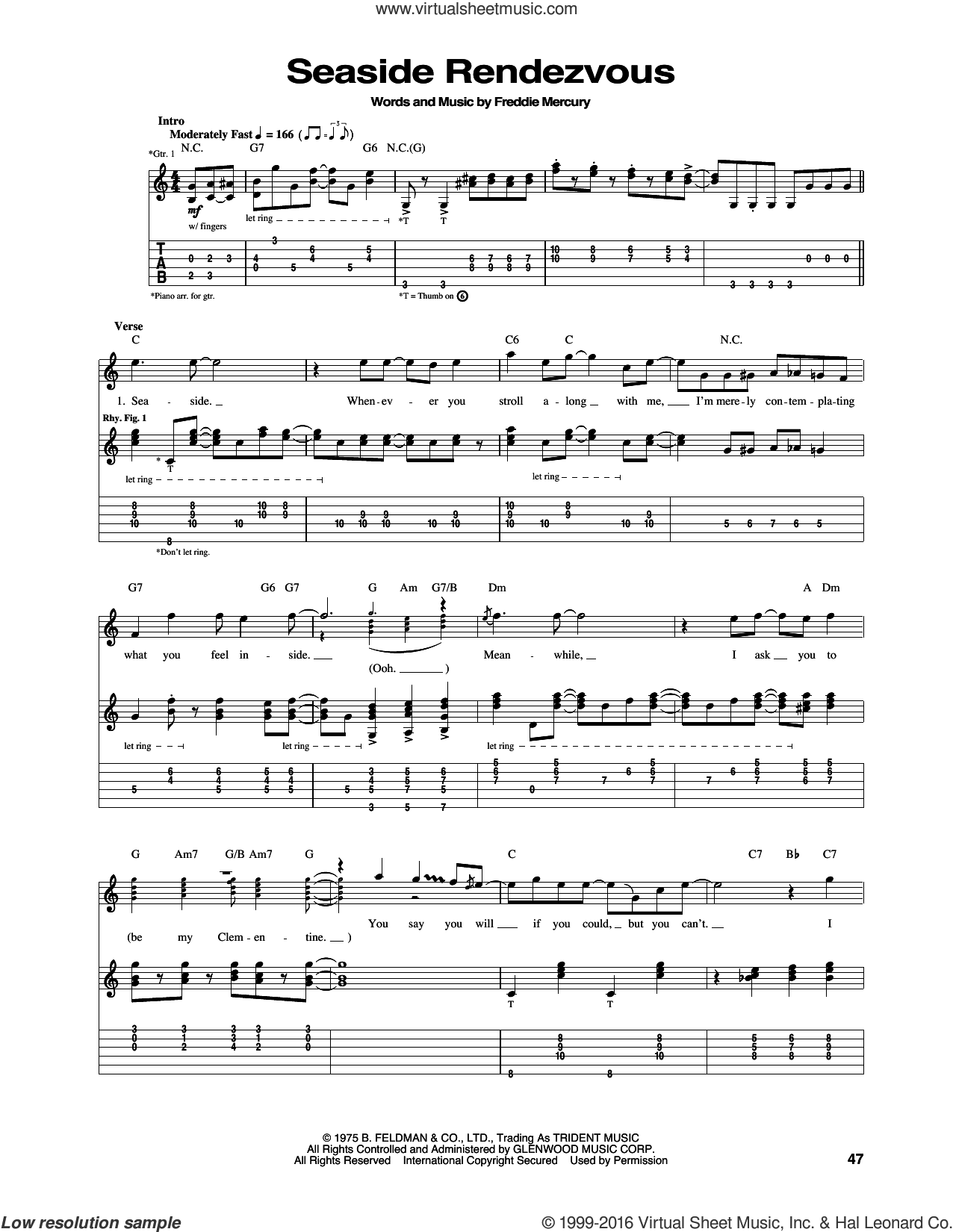 Seaside Rendezvous sheet music for guitar (tablature) by Freddie Mercury and Queen. Score Image Preview.