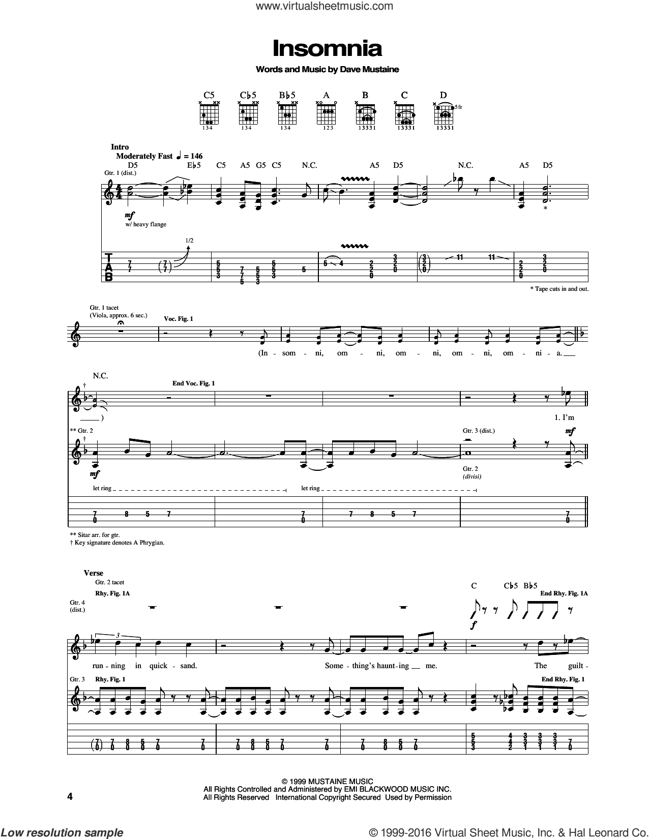 Insomnia sheet music for guitar (tablature) by Megadeth and Dave Mustaine, intermediate skill level