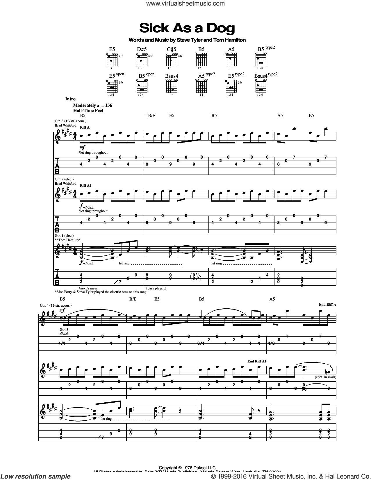Sick As A Dog sheet music for guitar (tablature) by Tom Hamilton, Aerosmith and Steven Tyler. Score Image Preview.