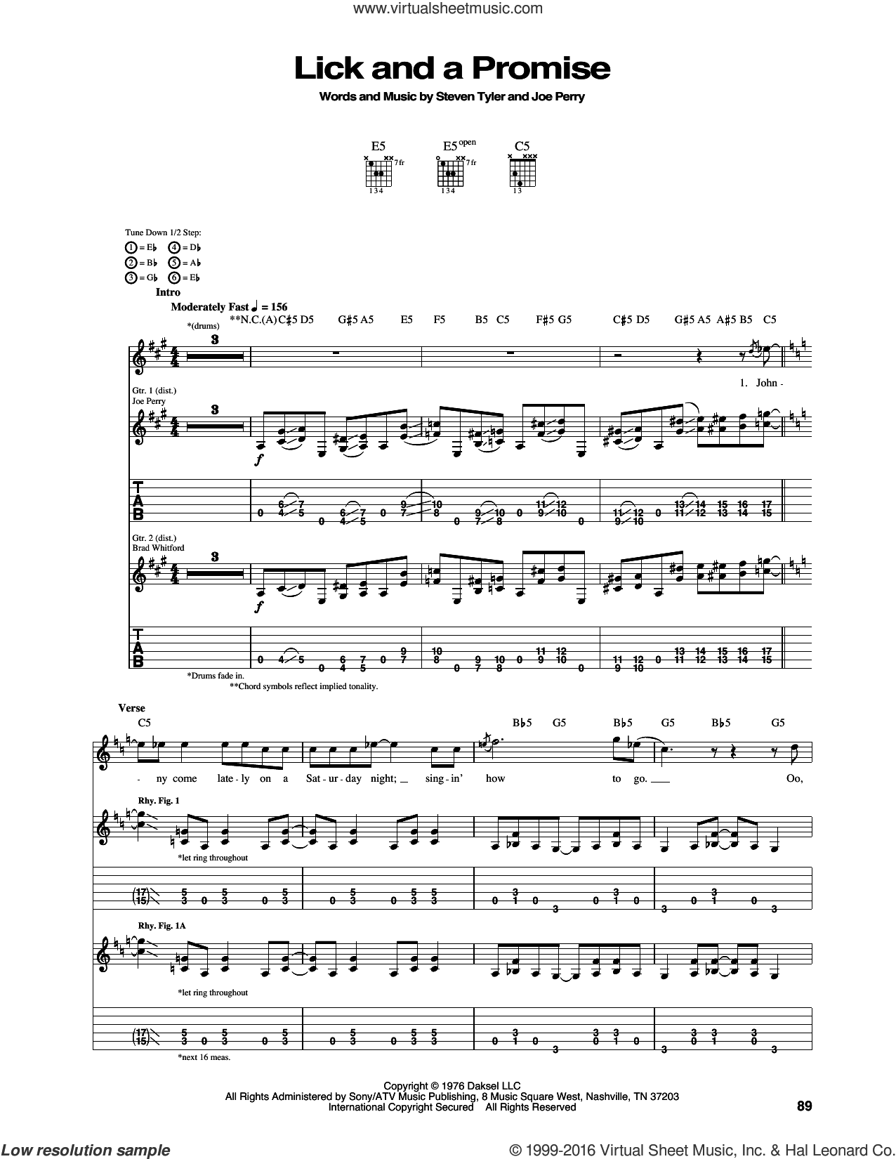 Lick And A Promise sheet music for guitar (tablature) by Aerosmith, Joe Perry and Steven Tyler, intermediate skill level