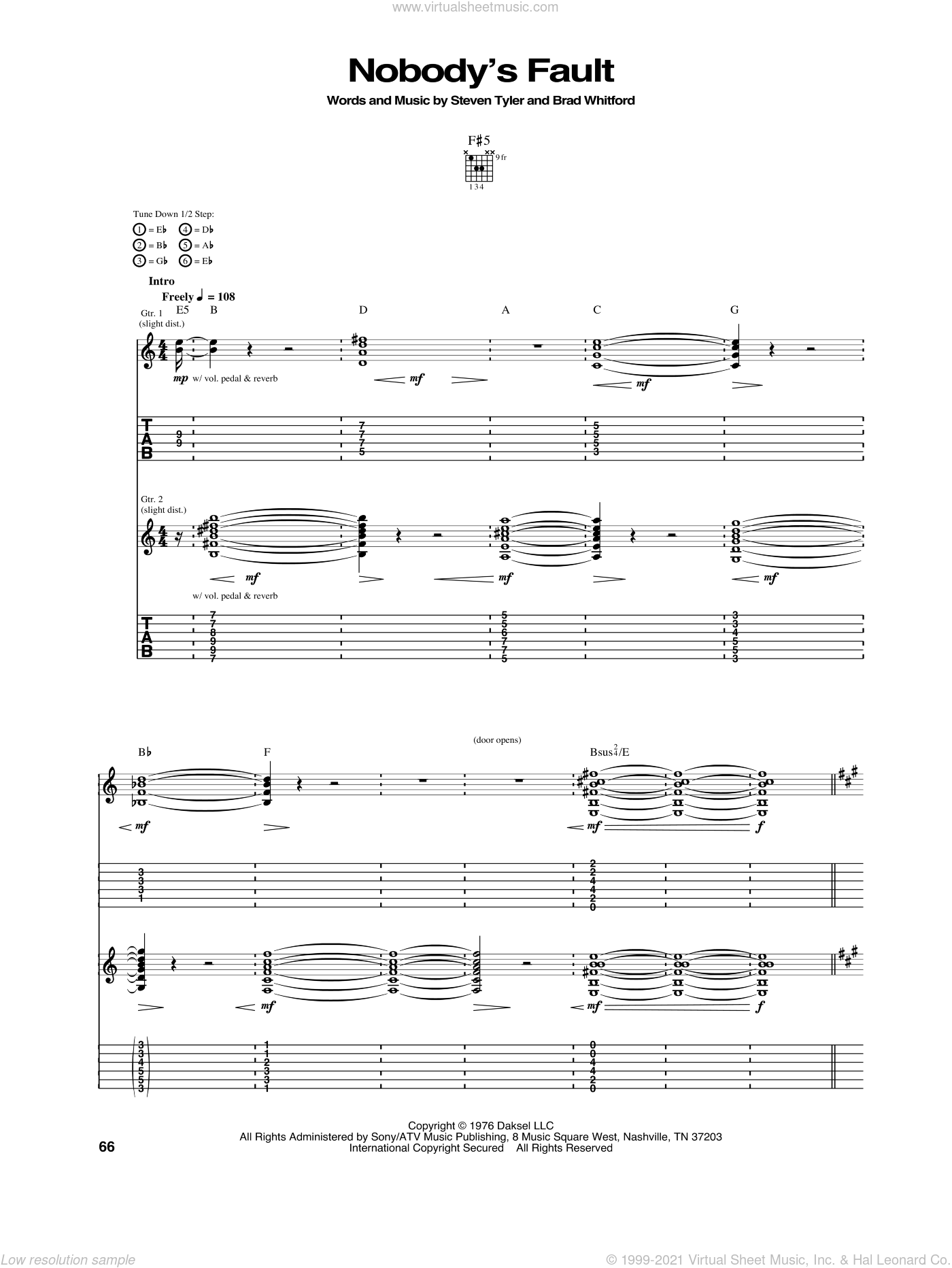 Nobody's Fault sheet music for guitar (tablature) by Aerosmith, Brad Whitford and Steven Tyler, intermediate skill level