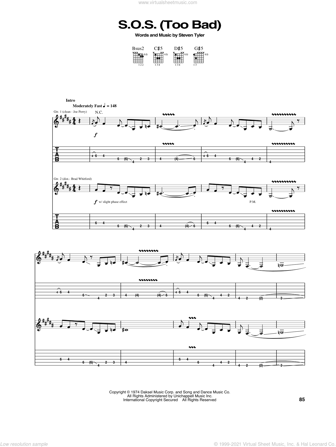 S.O.S. (Too Bad) sheet music for guitar (tablature) by Steven Tyler and Aerosmith. Score Image Preview.