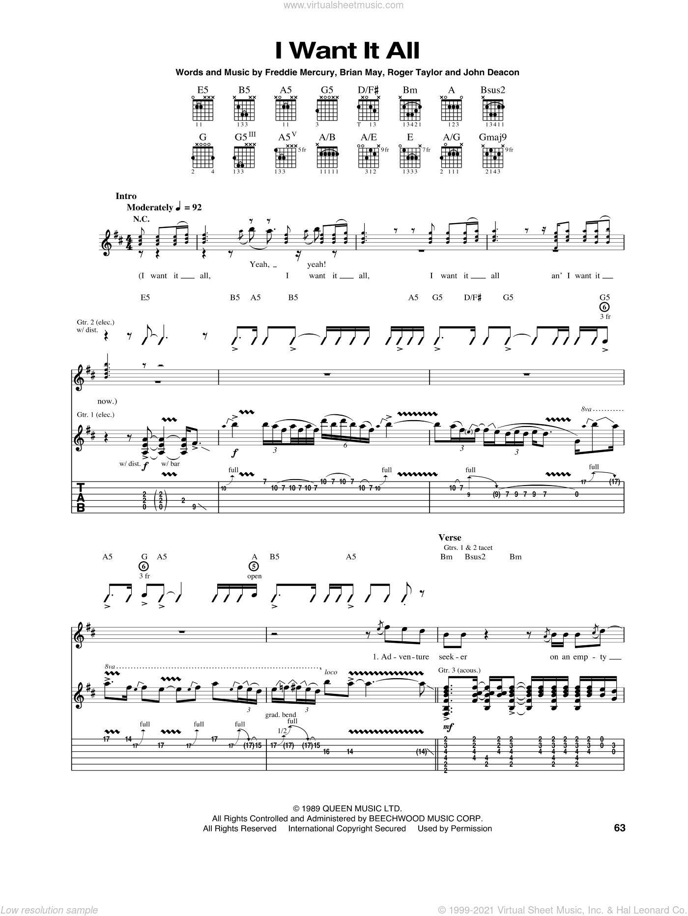 I Want It All sheet music for guitar (tablature) by Queen and Freddie Mercury, intermediate. Score Image Preview.