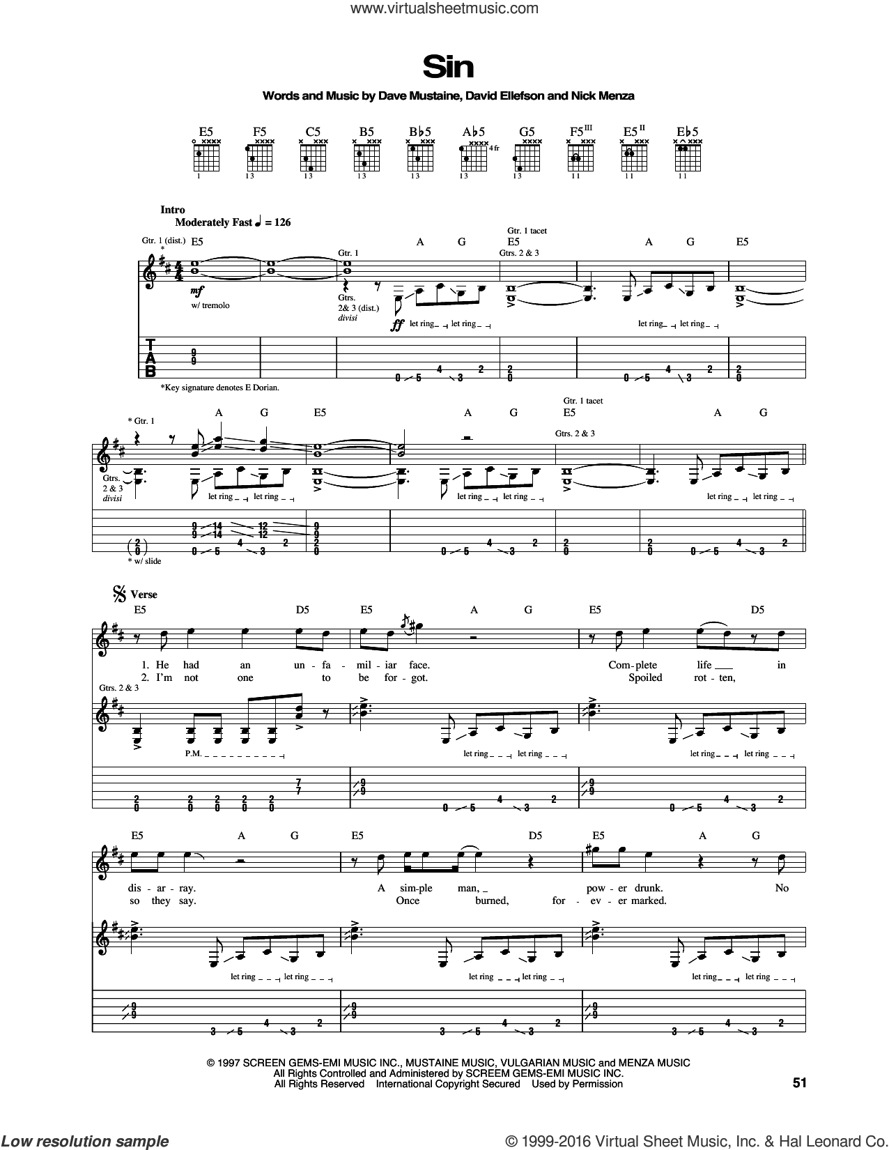 Sin sheet music for guitar (tablature) by Nick Menza, Megadeth, Dave Mustaine and David Ellefson. Score Image Preview.