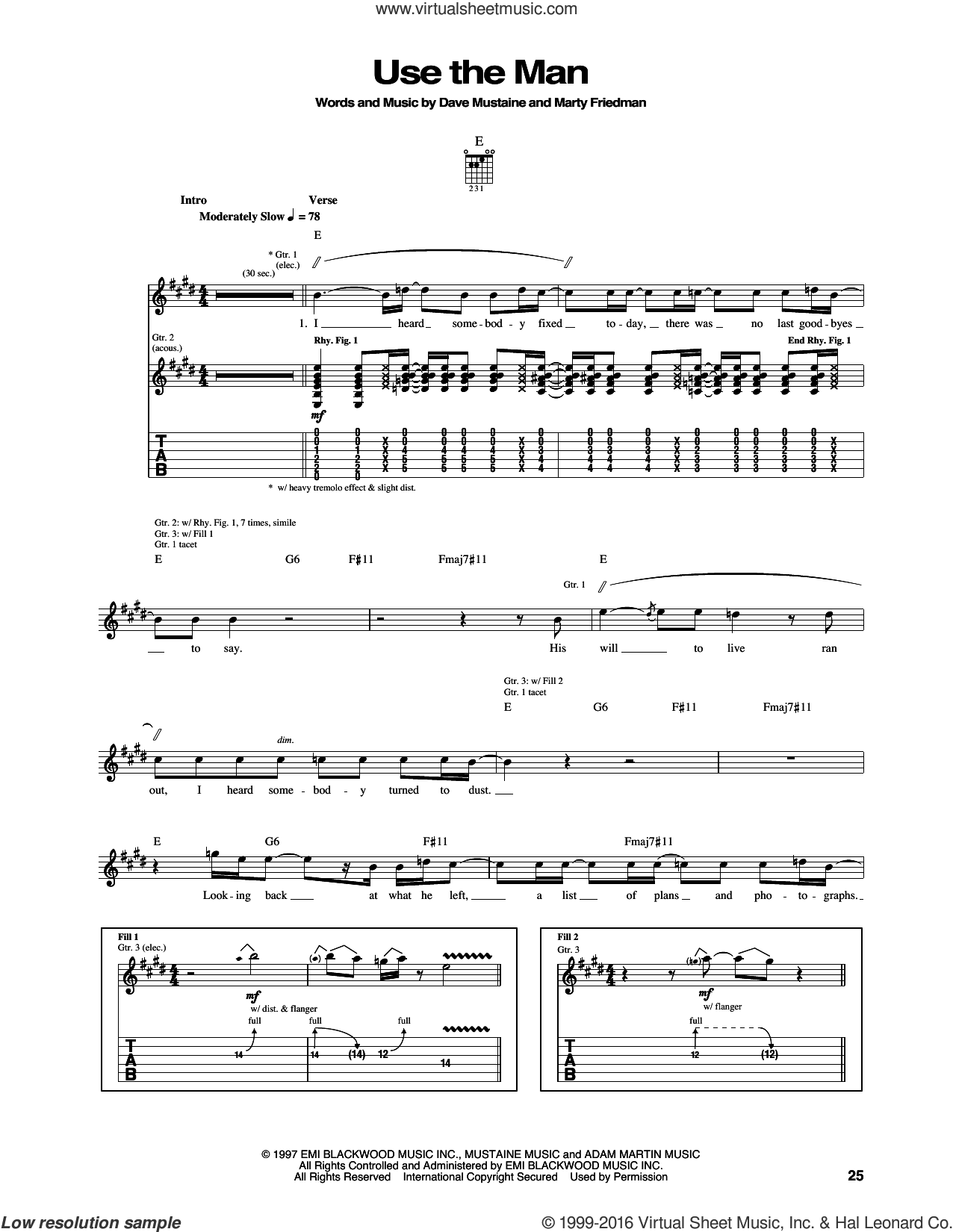 Use The Man sheet music for guitar (tablature) by Megadeth. Score Image Preview.