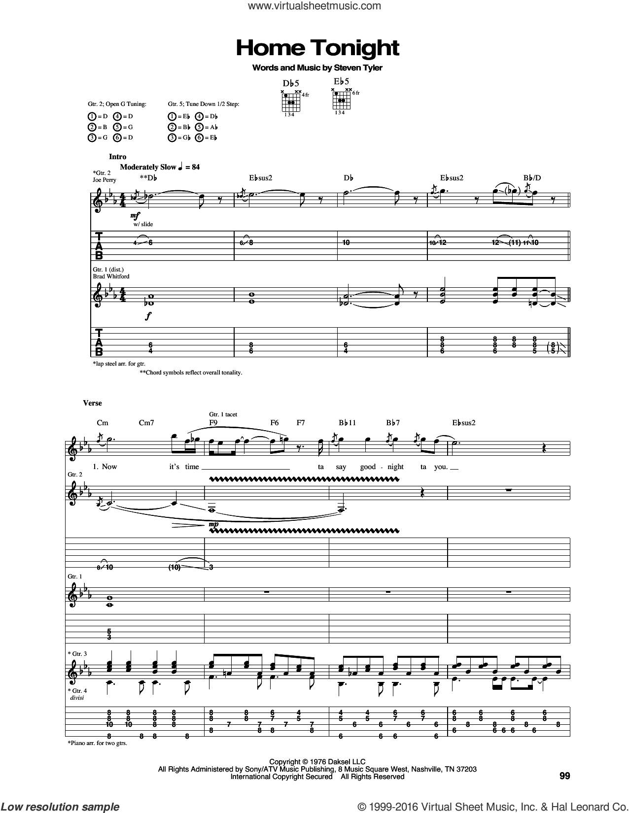 Home Tonight sheet music for guitar (tablature) by Aerosmith. Score Image Preview.