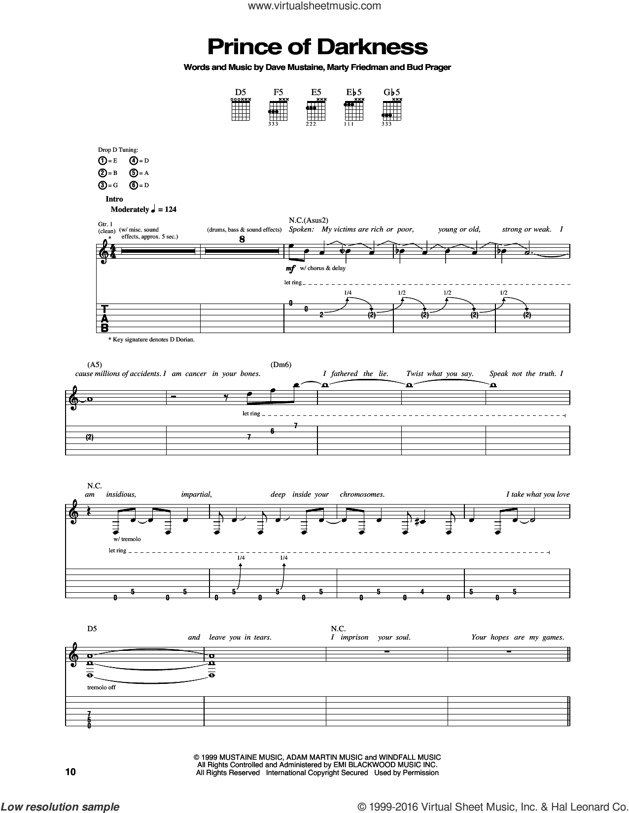 Prince Of Darkness sheet music for guitar (tablature) by Megadeth. Score Image Preview.