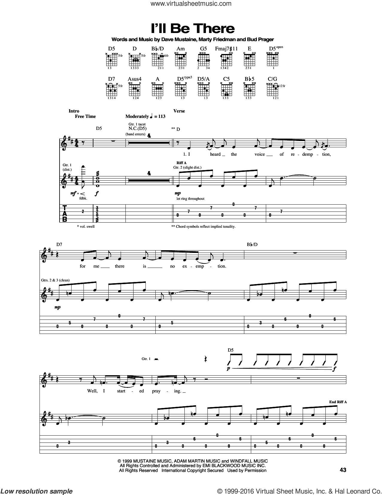 I'll Be There sheet music for guitar (tablature) by Marty Friedman, Megadeth and Dave Mustaine. Score Image Preview.