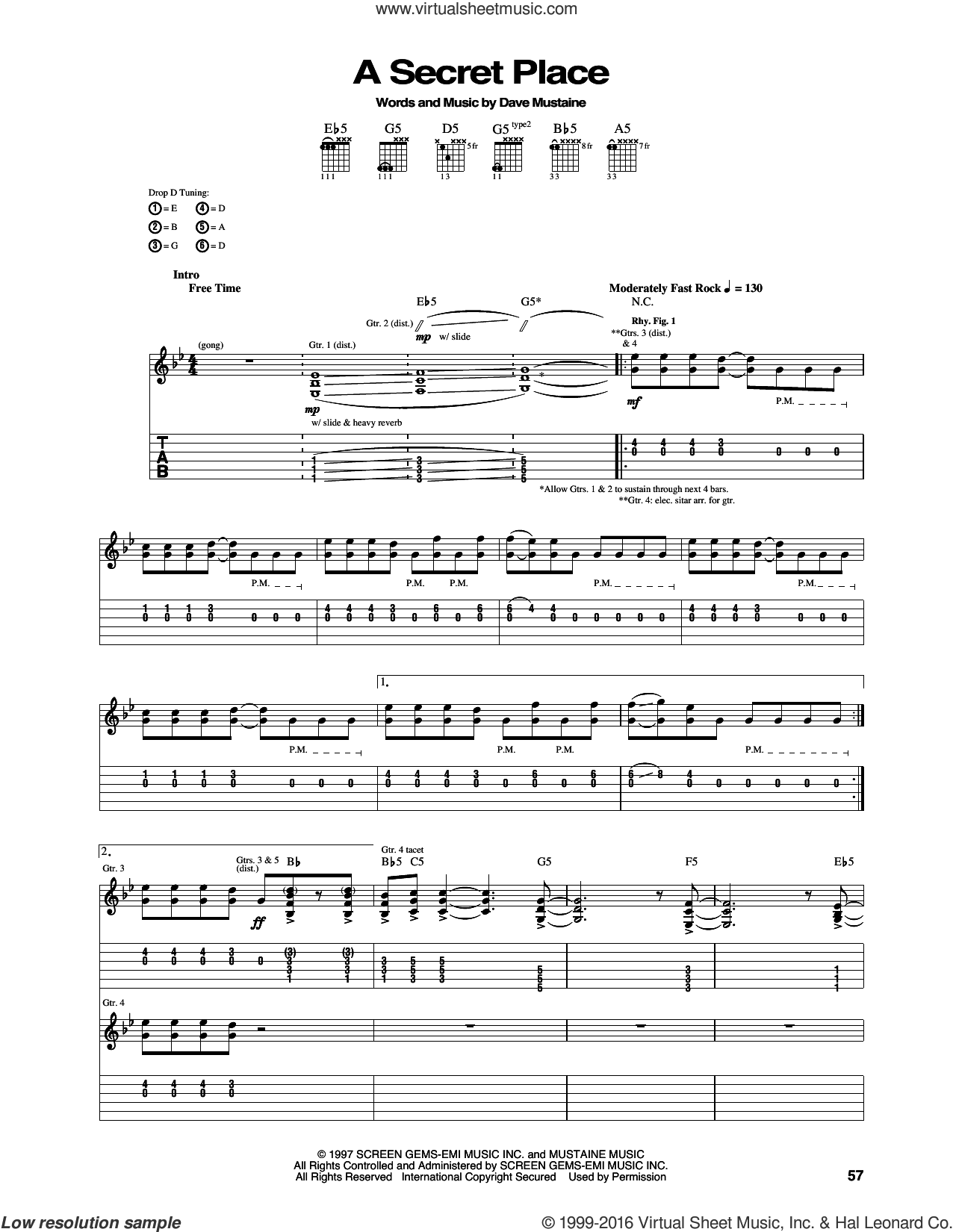A Secret Place sheet music for guitar (tablature) by Megadeth, intermediate. Score Image Preview.