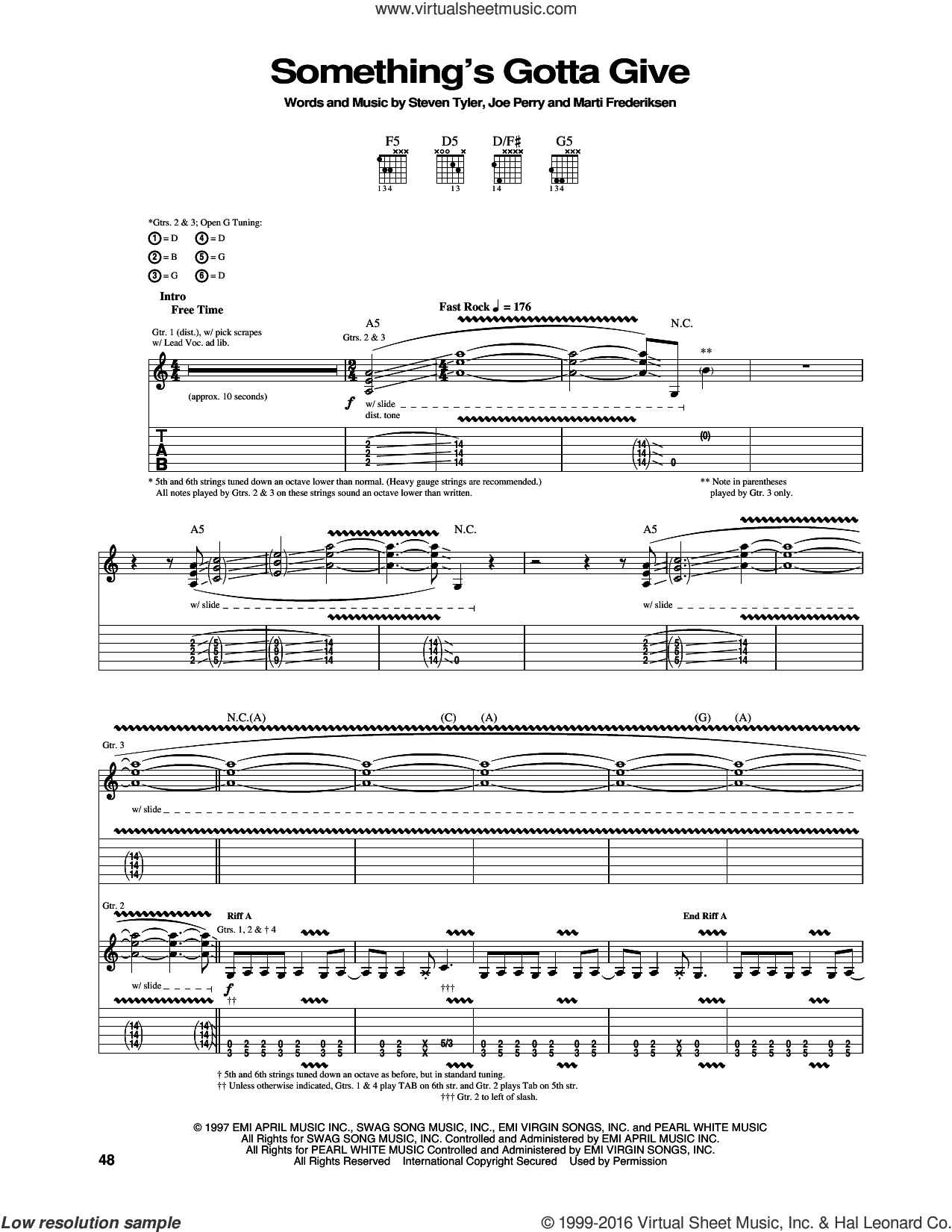 Something's Gotta Give sheet music for guitar (tablature) by Steven Tyler, Aerosmith, Joe Perry and Marti Frederiksen. Score Image Preview.