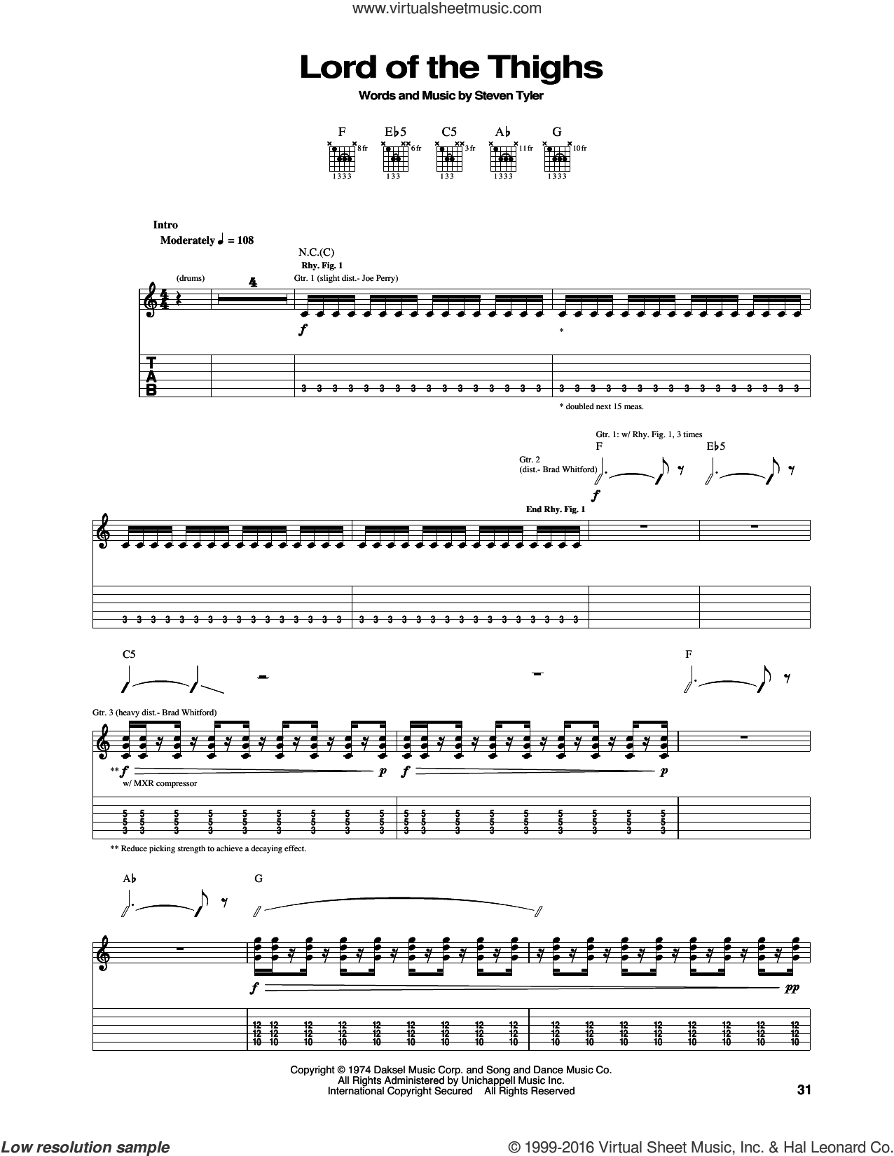 Lord Of The Thighs sheet music for guitar (tablature) by Steven Tyler and Aerosmith. Score Image Preview.