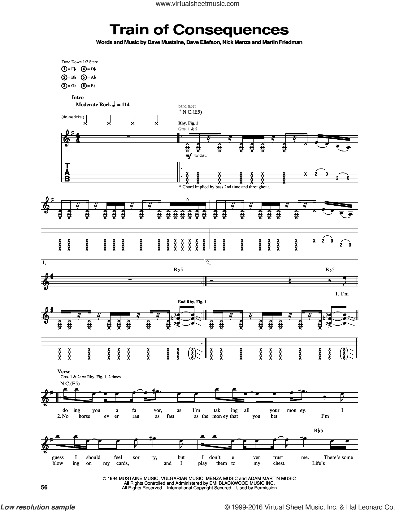 Train Of Consequences sheet music for guitar (tablature) by Nick Menza, Megadeth and Dave Mustaine. Score Image Preview.