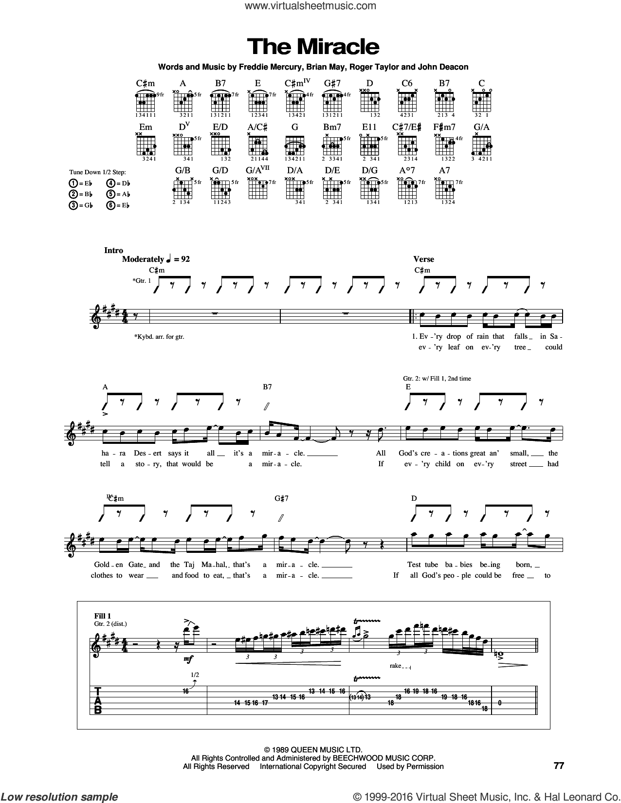The Miracle sheet music for guitar (tablature) by Queen and Freddie Mercury, intermediate guitar (tablature). Score Image Preview.
