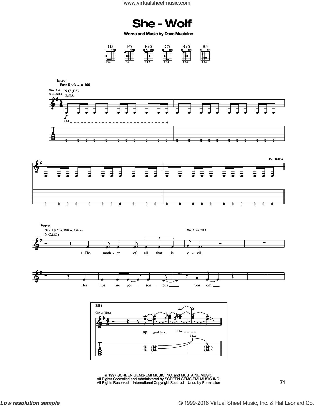 She-Wolf sheet music for guitar (tablature) by Megadeth, intermediate. Score Image Preview.