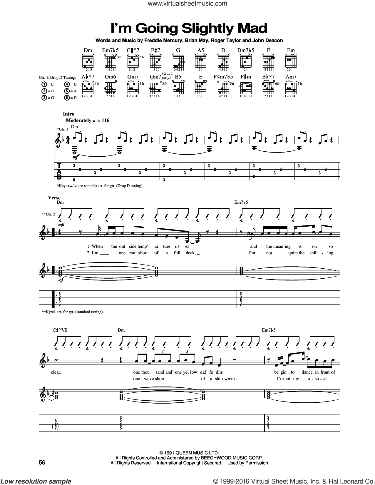 I'm Going Slightly Mad sheet music for guitar (tablature) by Queen and Freddie Mercury. Score Image Preview.