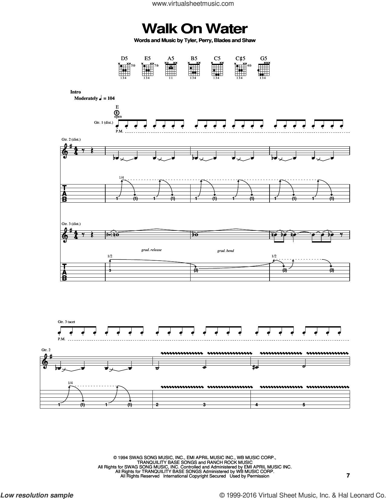 Walk On Water sheet music for guitar (tablature) by Aerosmith, intermediate guitar (tablature). Score Image Preview.