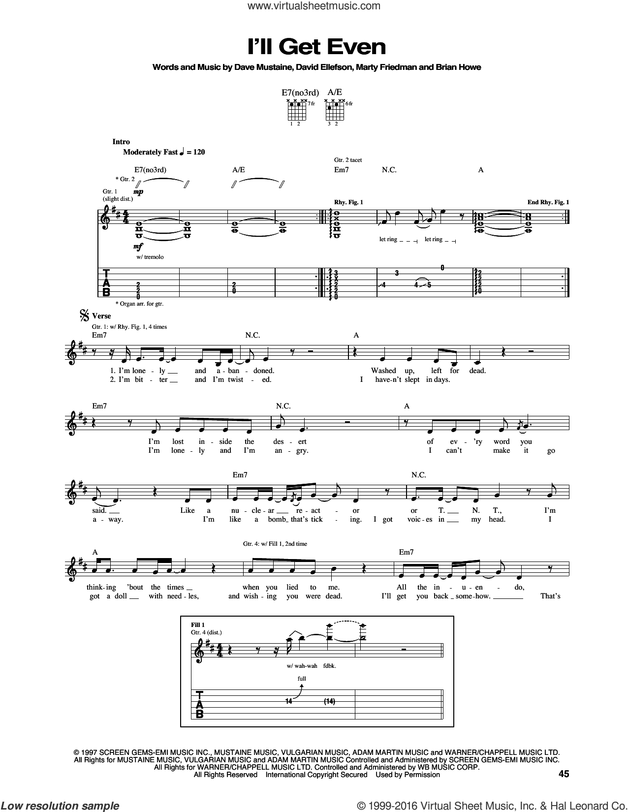 I'll Get Even sheet music for guitar (tablature) by Megadeth. Score Image Preview.