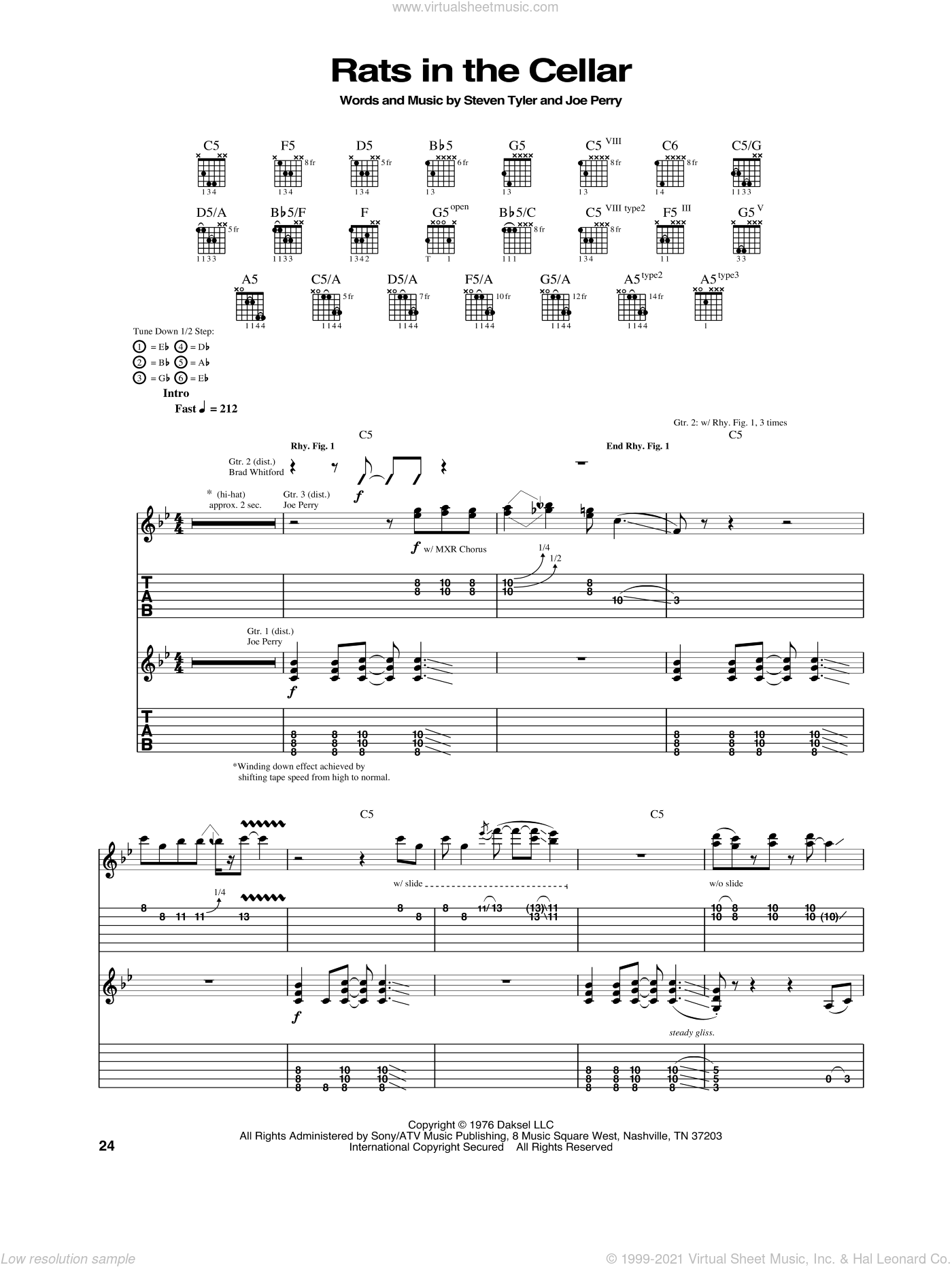 Rats In The Cellar sheet music for guitar (tablature) by Aerosmith, intermediate guitar (tablature). Score Image Preview.