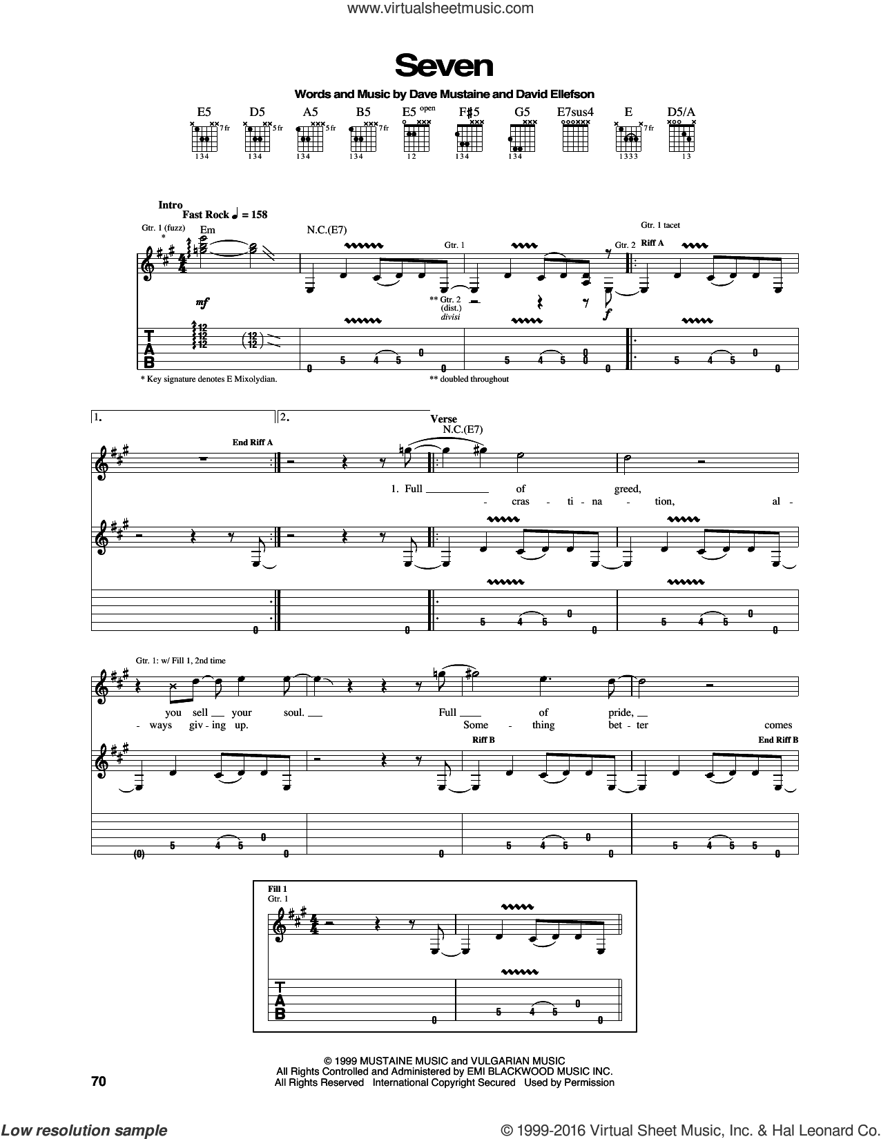 Seven sheet music for guitar (tablature) by David Ellefson, Megadeth and Dave Mustaine. Score Image Preview.