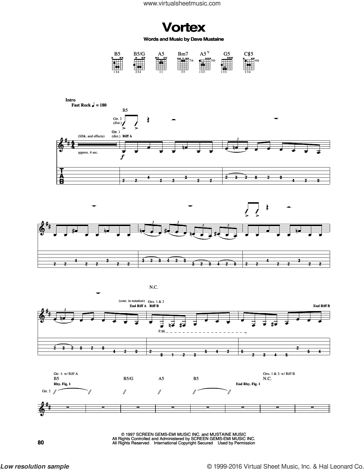 Vortex sheet music for guitar (tablature) by Dave Mustaine and Megadeth. Score Image Preview.