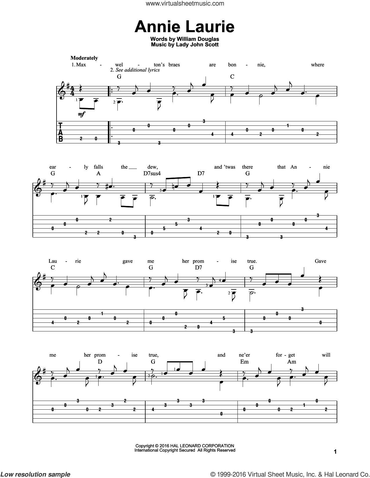 Annie Laurie sheet music for guitar solo by Lady John Scott and William Douglas, intermediate skill level