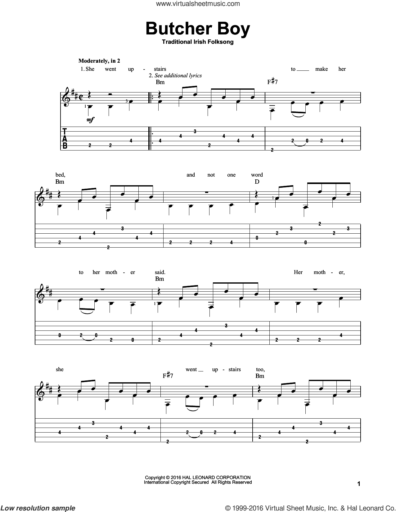 Butcher Boy sheet music for guitar solo, intermediate. Score Image Preview.