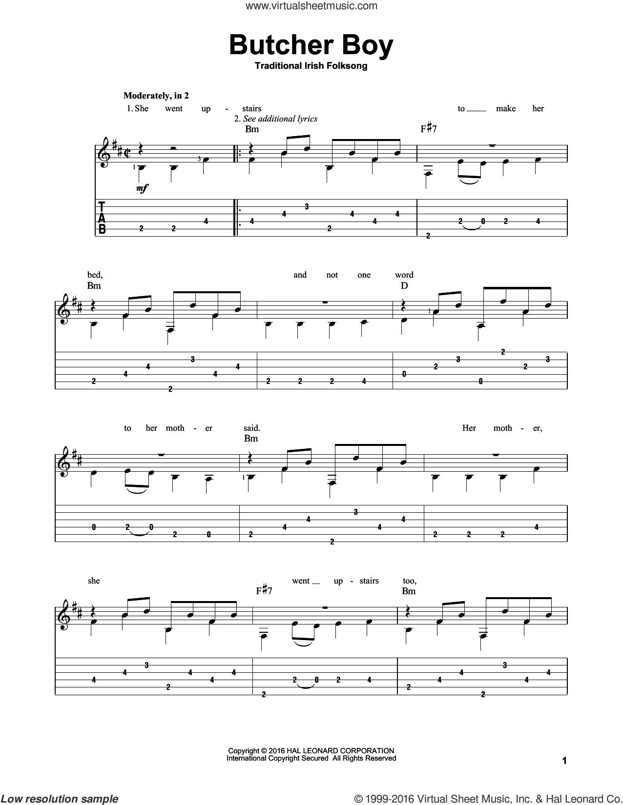 Butcher Boy sheet music for guitar solo, intermediate skill level