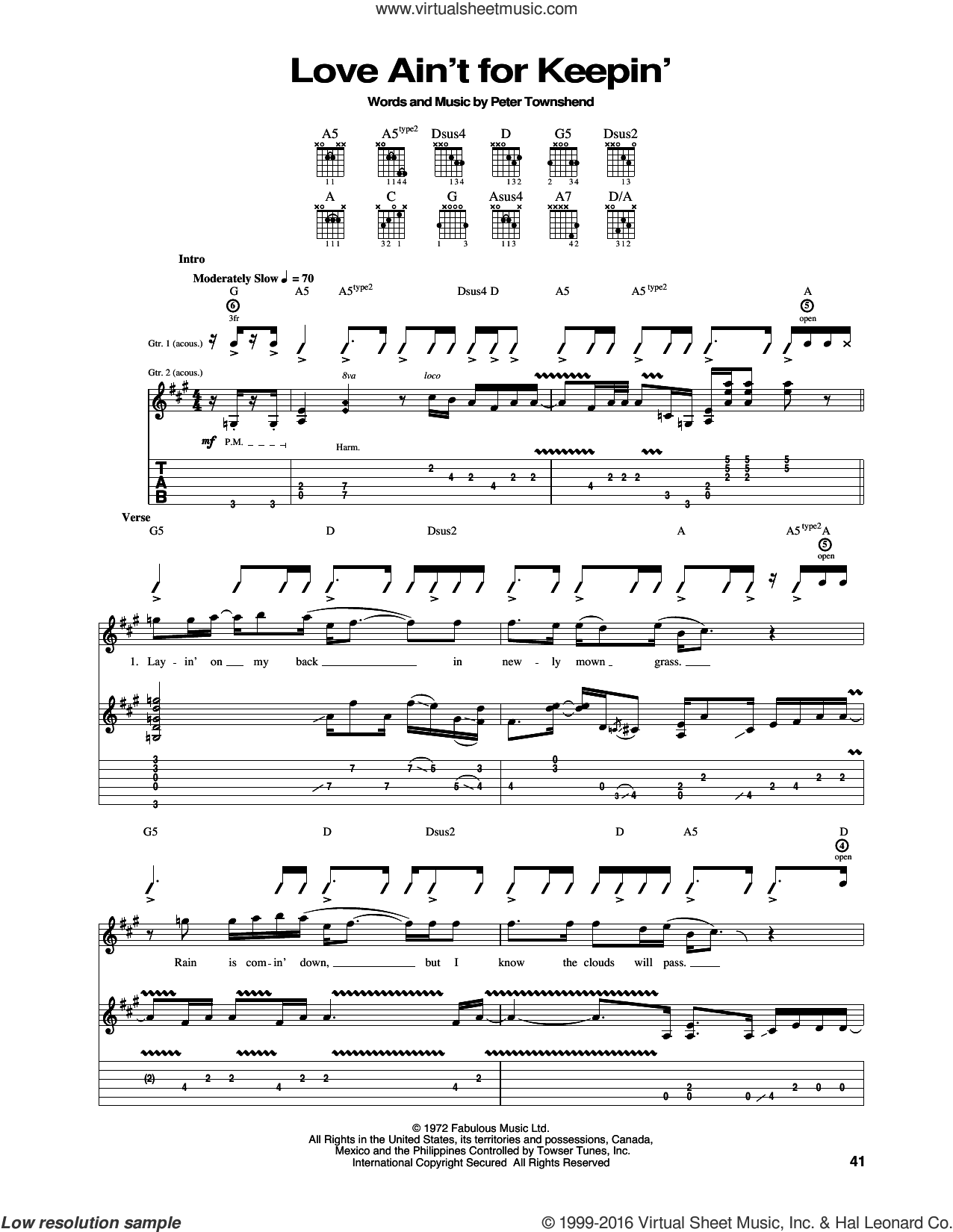 Love Ain't For Keepin' sheet music for guitar (tablature) by Pete Townshend and The Who. Score Image Preview.