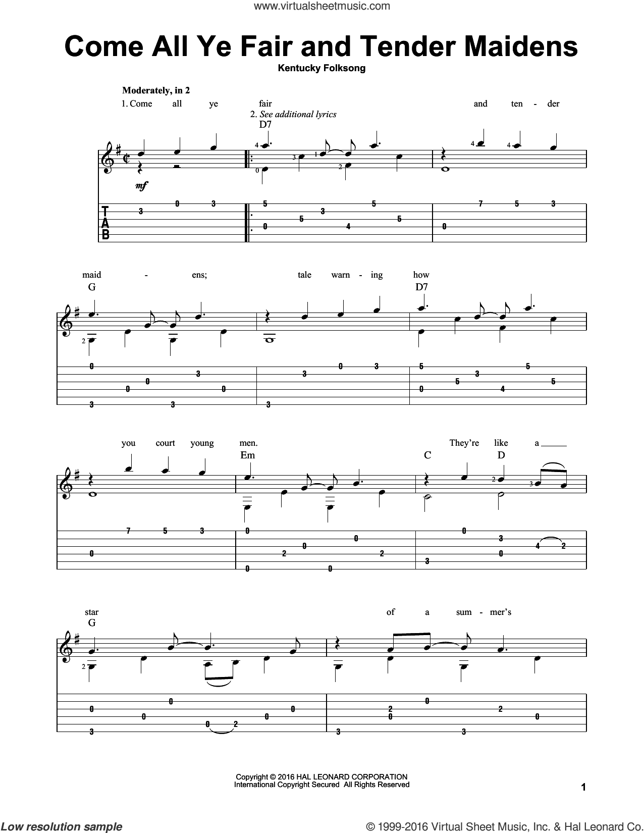 Come All Ye Fair And Tender Maidens sheet music for guitar solo by Kentucky Folksong. Score Image Preview.