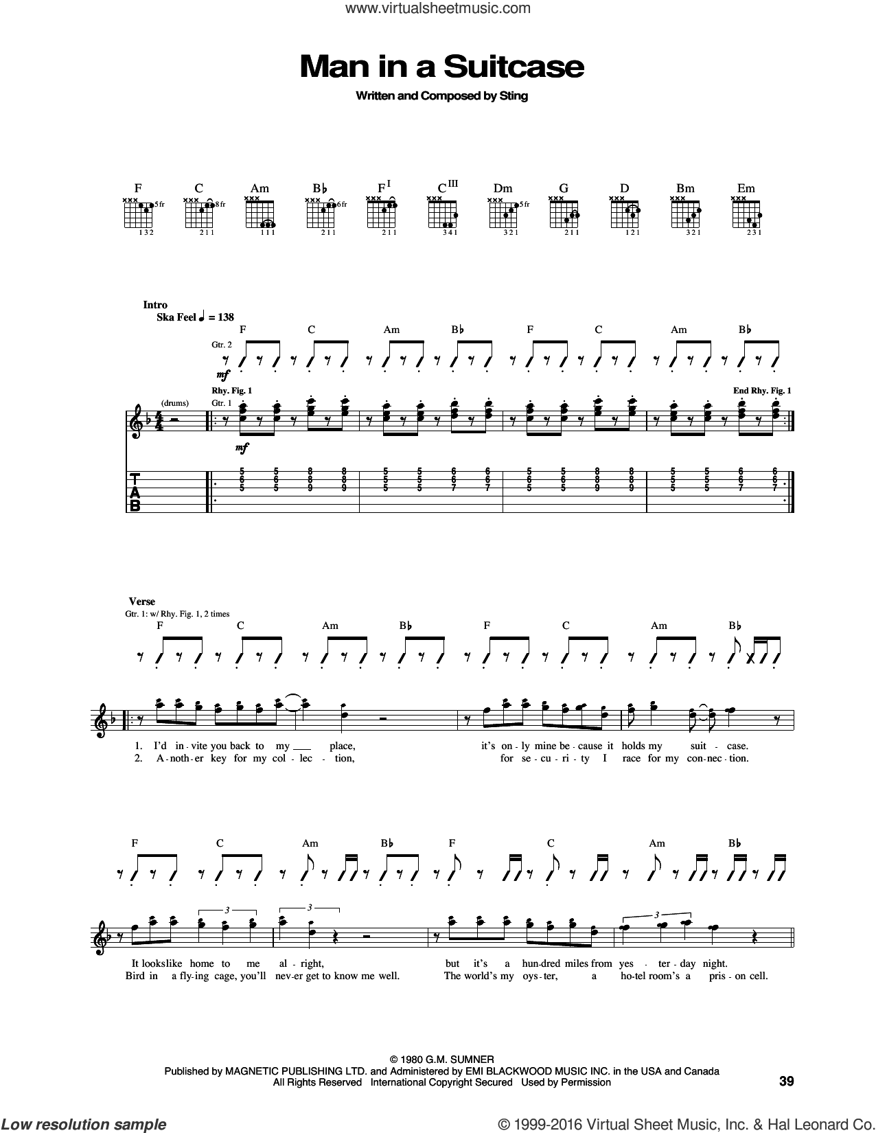 Man In A Suitcase sheet music for guitar (tablature) by Sting and The Police. Score Image Preview.